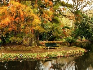 bench, Park, viewes, autumn, trees, River