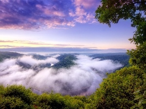 clouds, trees, viewes, Mountains