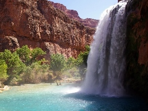 Havasu, rocks, waterfall