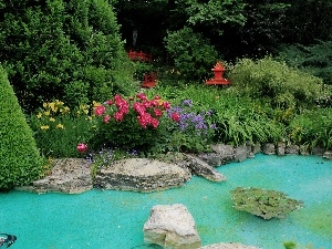Garden, Bush, water, Flowers