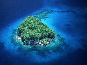 Green, Blue, water, Islet