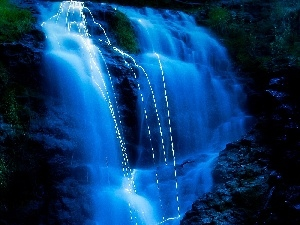 waterfall, Mountains, blue