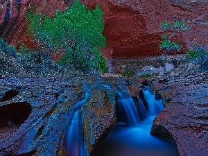 waterfall, Bush, Utah, brook, canyon