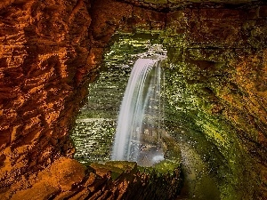 Cavern, waterfall
