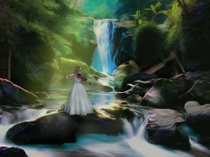 waterfall, forest, Women, Stones, fantasy
