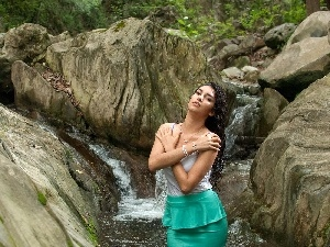 jewellery, rocks, waterfall, Women