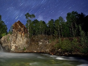 Home, forest, waterfall, Meteor Showers