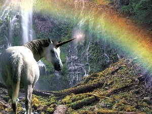 Great Rainbows, unicorn, waterfall