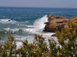 Coast, rocks, Waves, sea