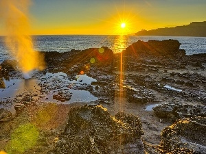 rays, east, Waves, Stones, sea, sun
