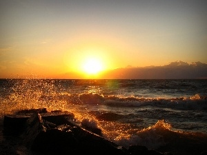 Great Sunsets, lake, Waves
