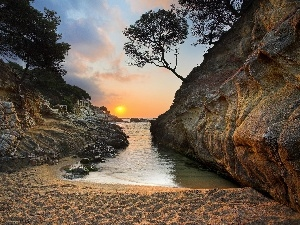 west, sun, Costa Brava, Beaches, Spain
