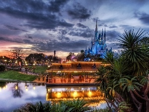Disneyworld, Park, west, sun, Castle, entertainment