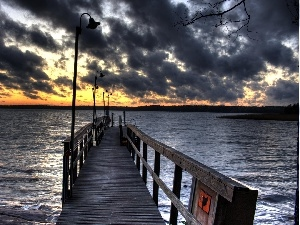 dark, sea, west, sun, clouds, pier