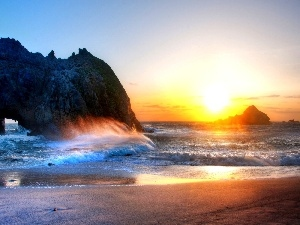 west, sun, Waves, rocks, sea