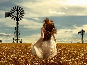 girl, wheat, Windmill, Hair