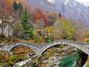 woods, autumn, bridge, Mountains, River