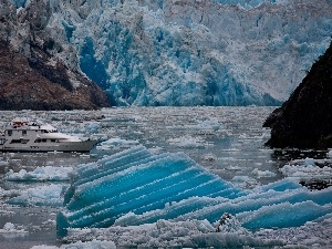 mountains, floe, Yacht, Ice