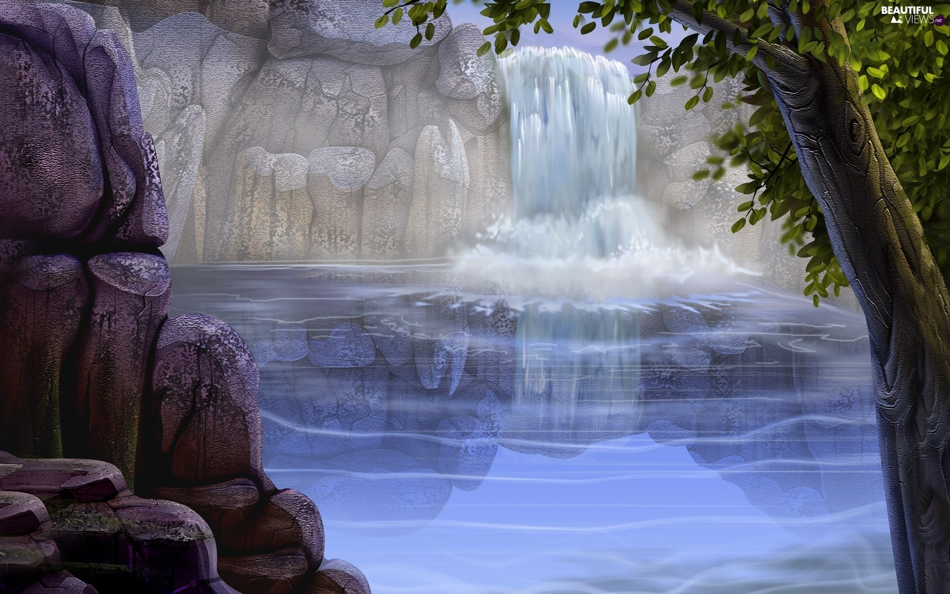 waterfall, viewes, Art, trees