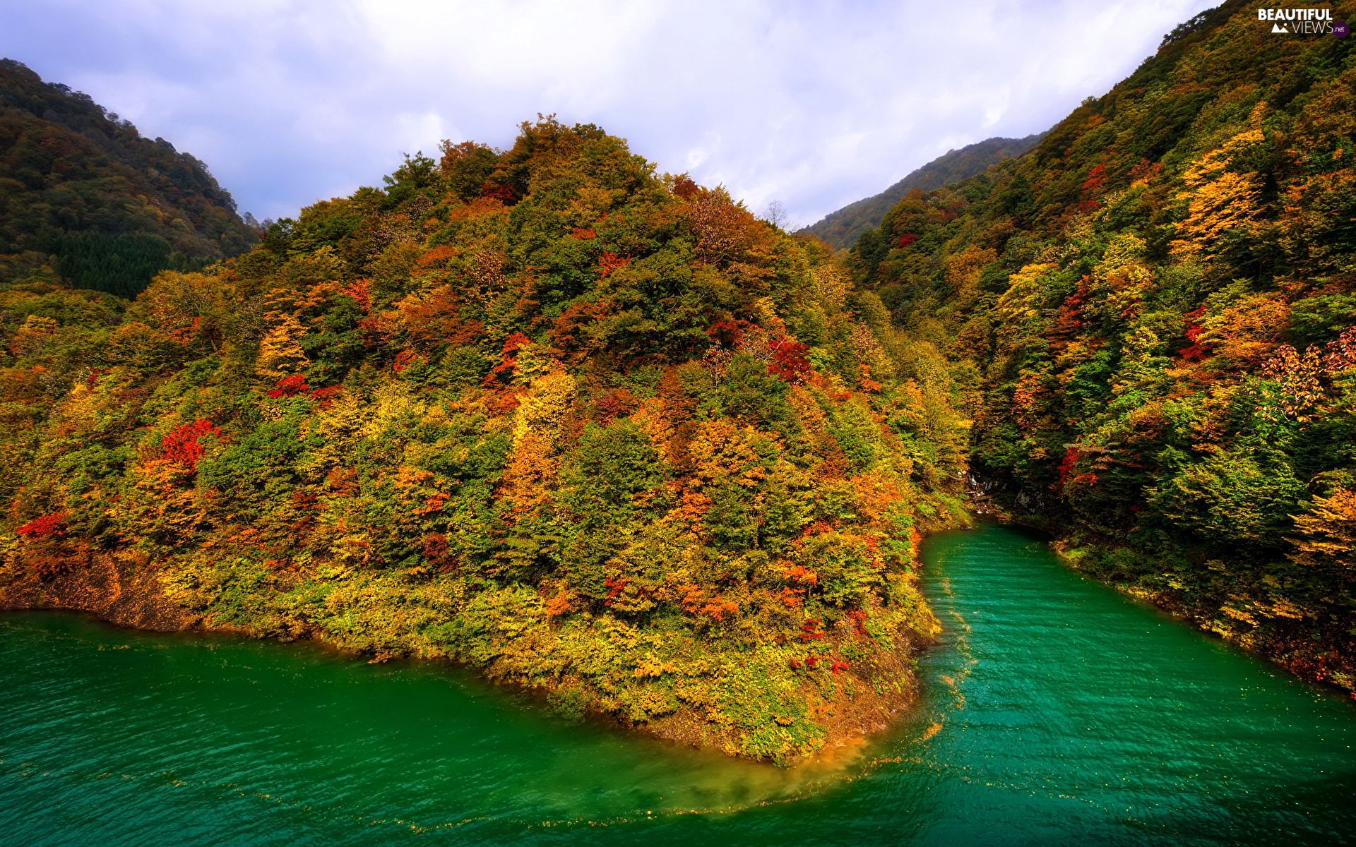 Mountains, woods, River, autumn