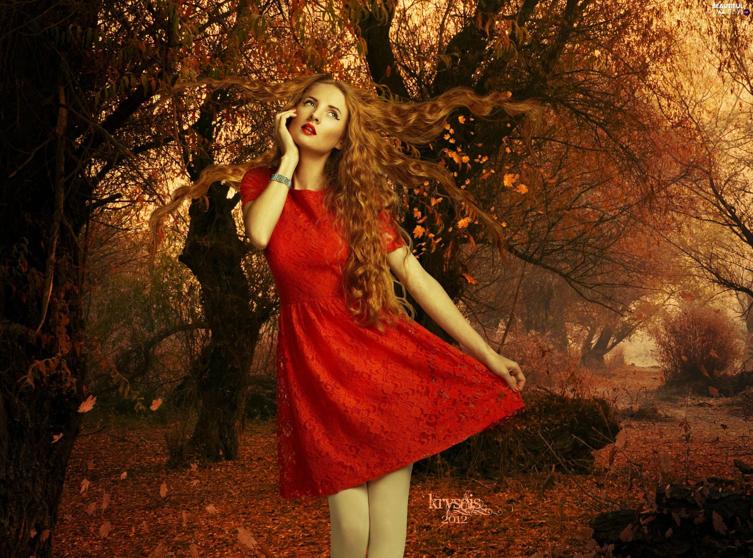 autumn, Leaf, red hot, dress, Women