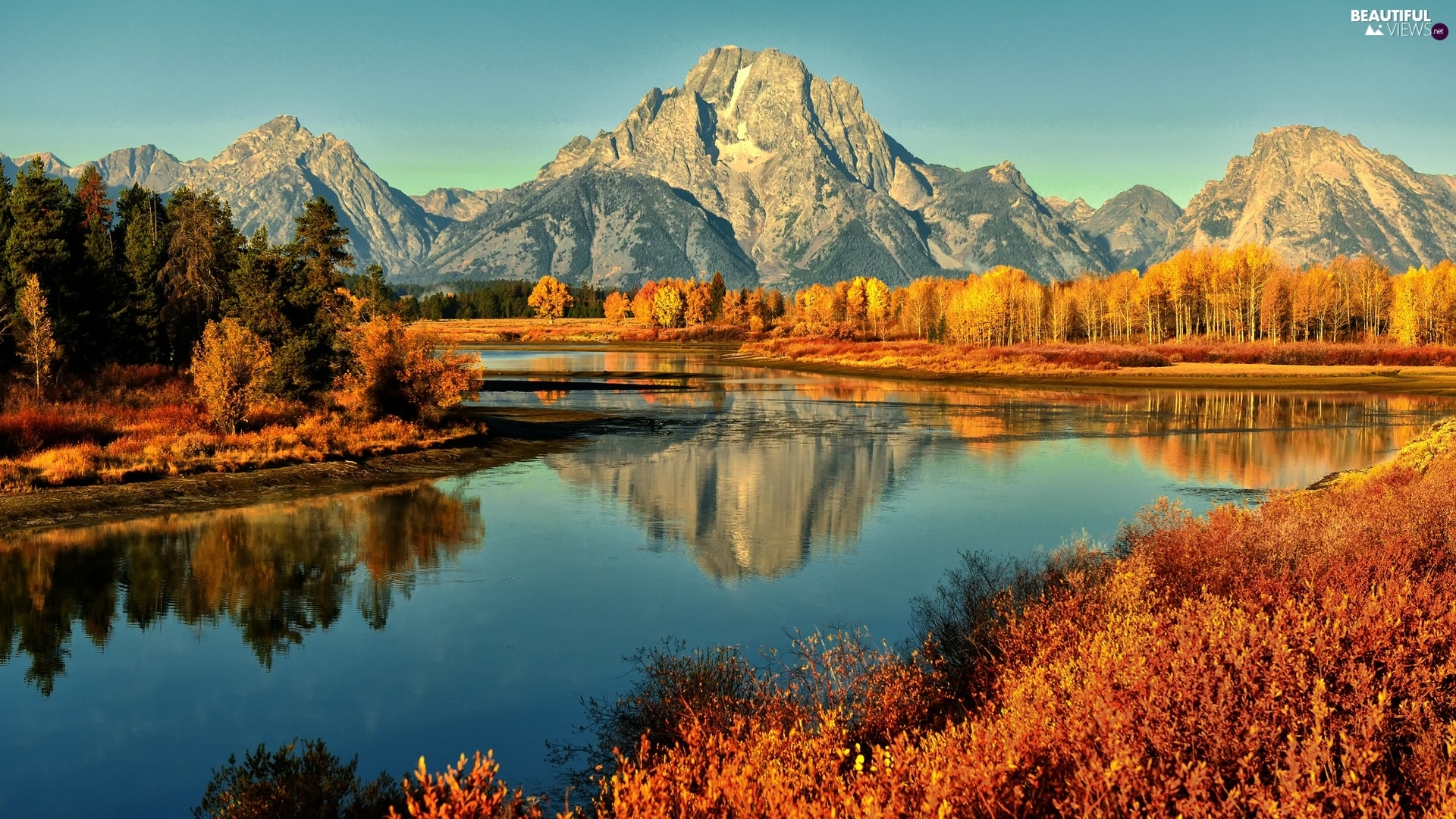 River, Mountains, autumn, forest