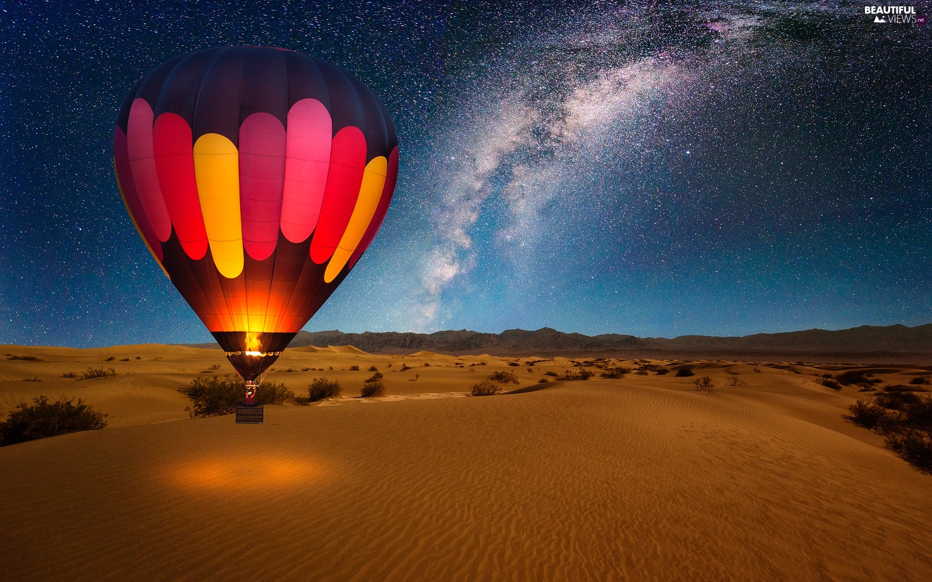 Night, Desert, Balloon, star