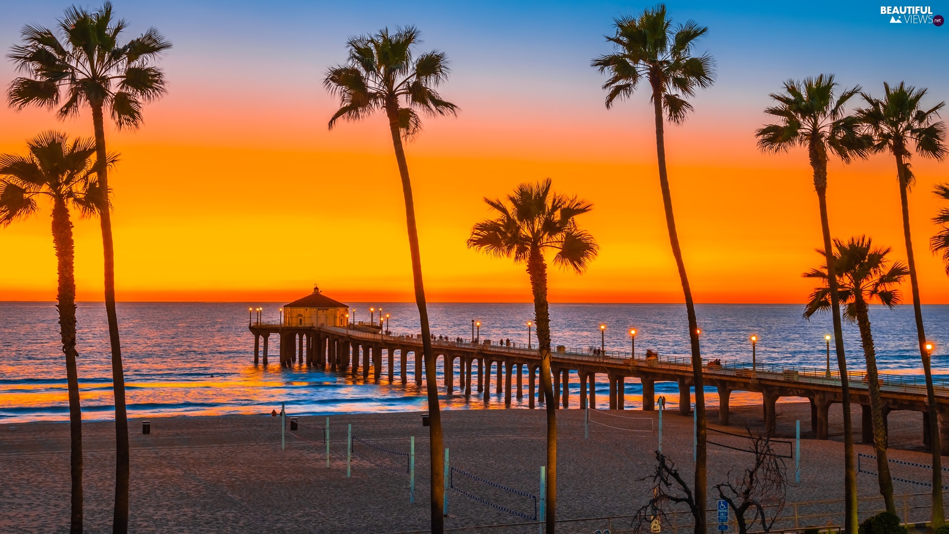 Palms, Great Sunsets, Beaches, pier, sea