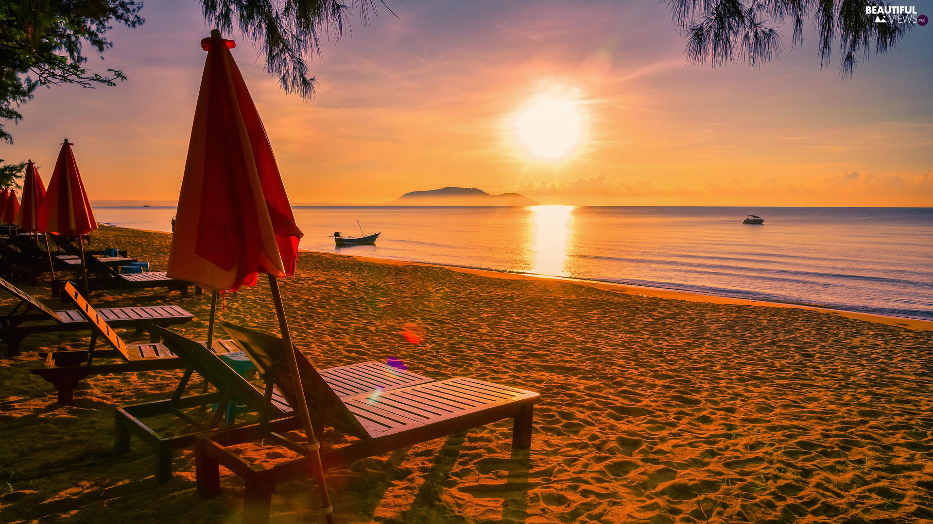 Great Sunsets, sea, boats, Sunshade, deck chair, Beaches