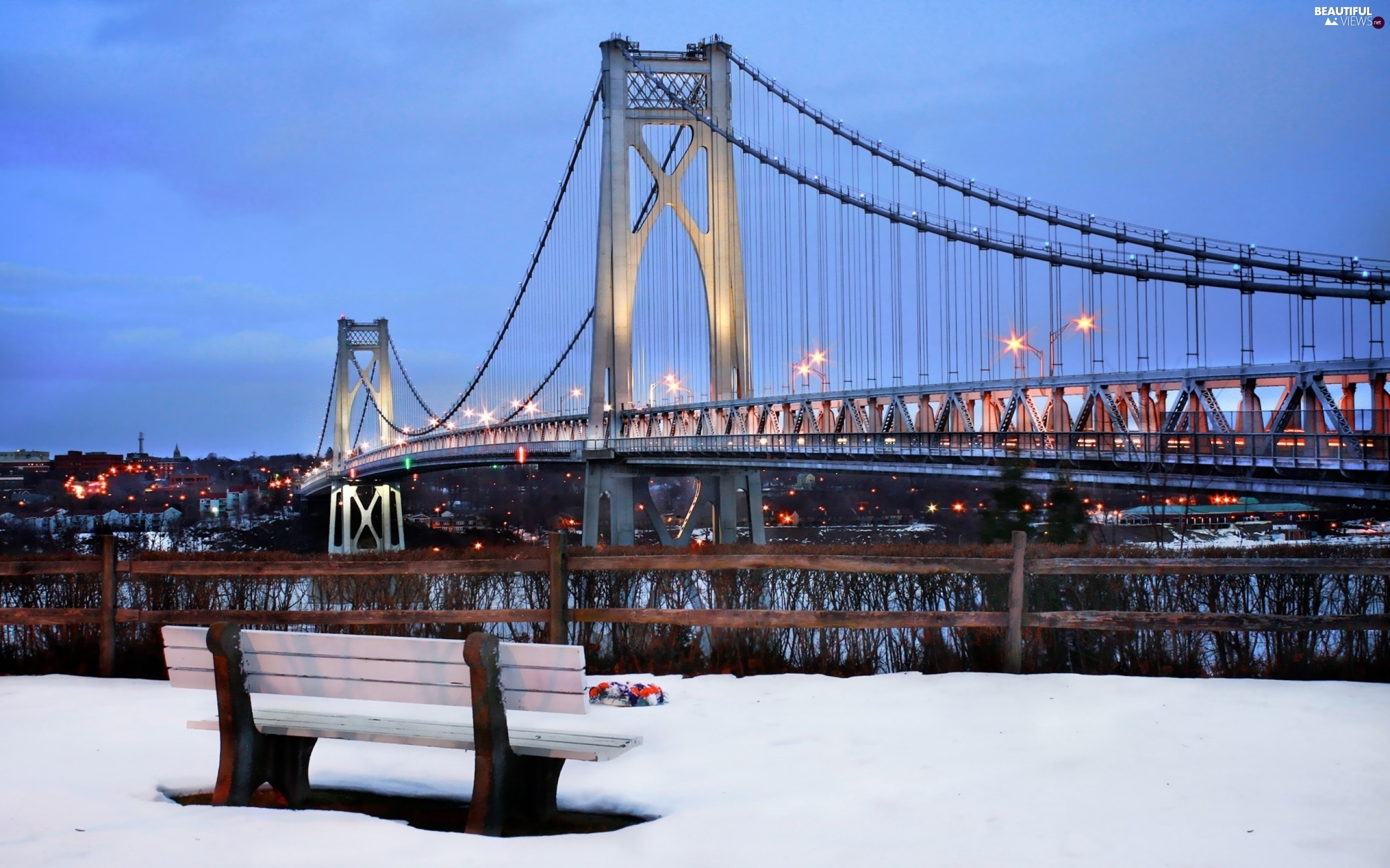 Bench, winter, bridge, River, Floodlit