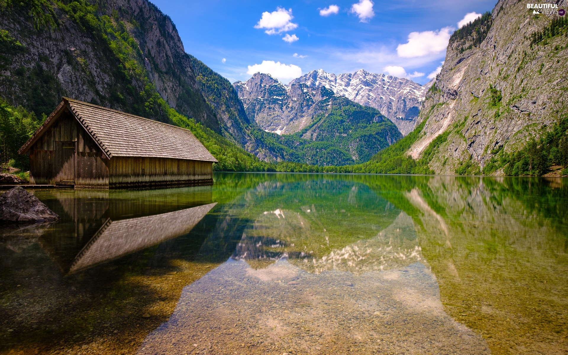 Home, cote, Germany, Alps Mountains, Bavaria, wooden, Obersee Lake, Berchtesgaden National Park