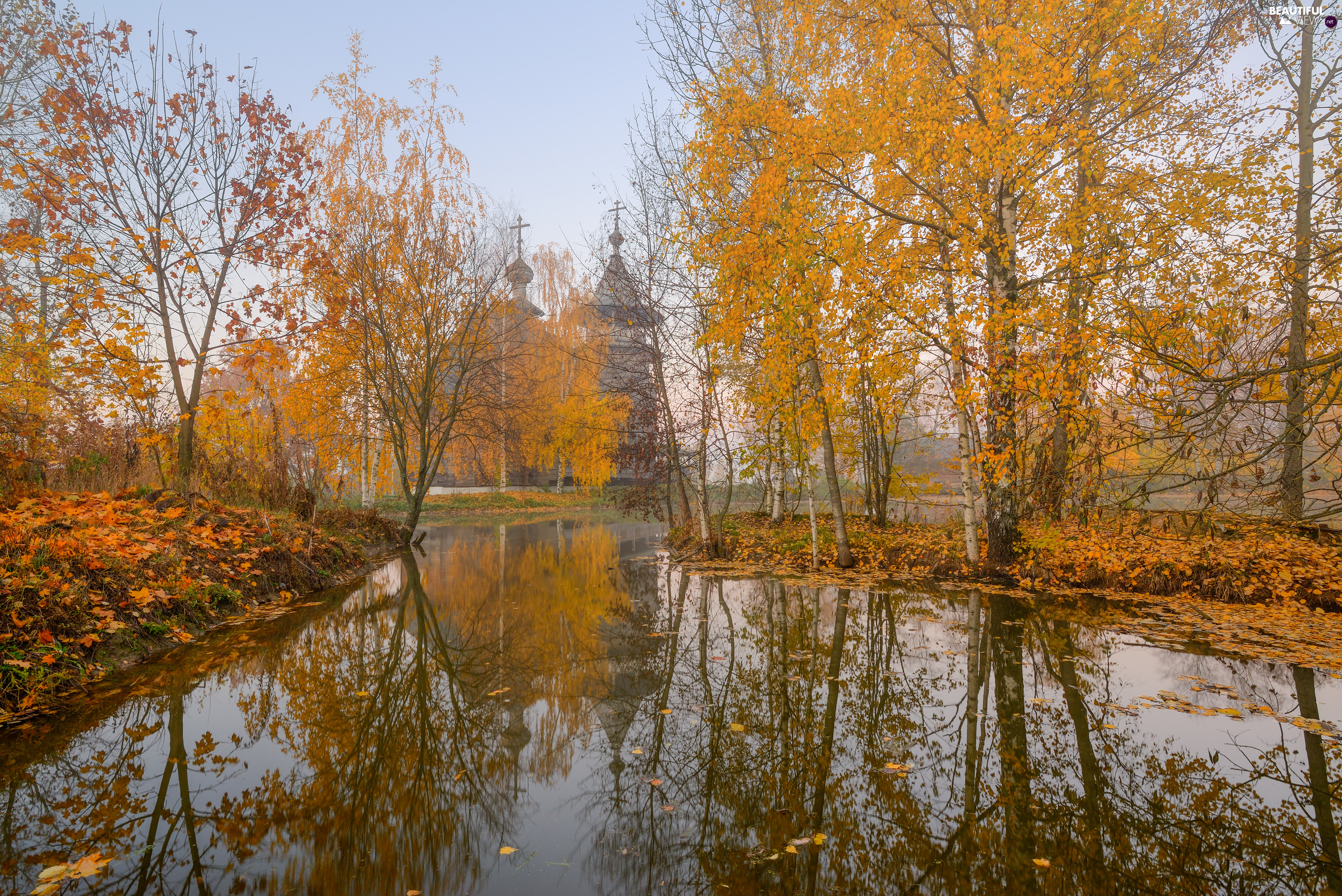 Cerkiew, autumn, viewes, birch, trees, Pond - car