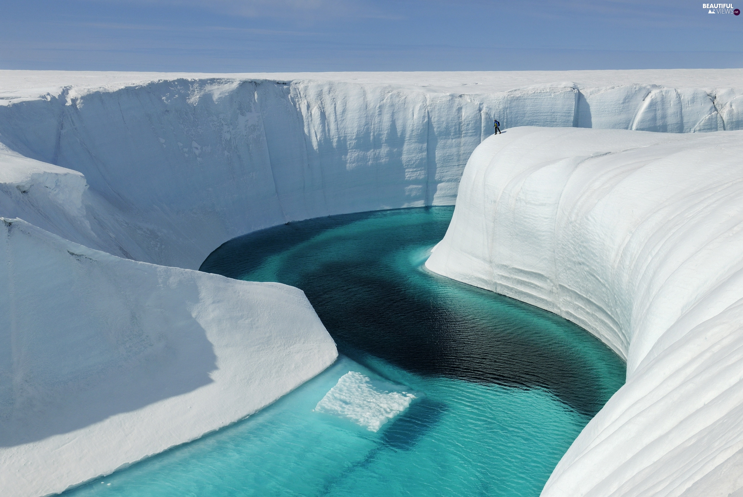 Greenland, River, canyon, Blue