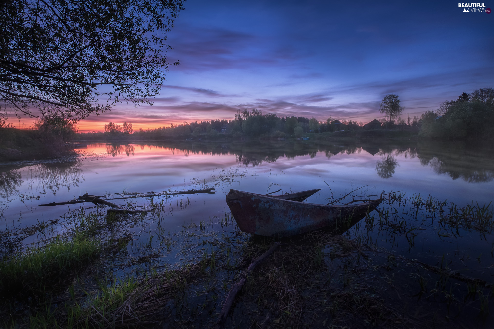 Boat, Dubna River, evening, Sky, Latgale, Latvia, trees, viewes, clouds