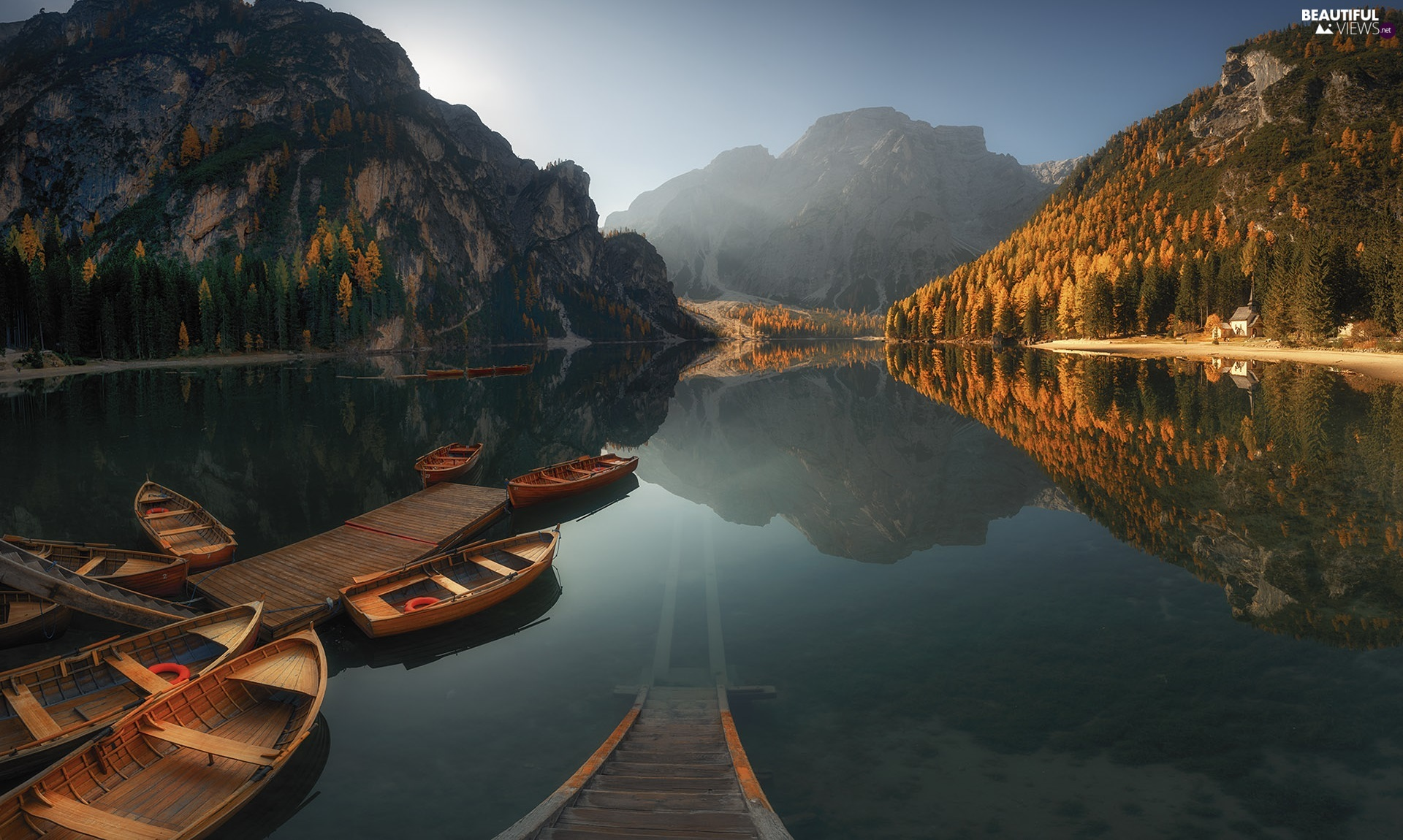 lake, autumn, Platform, Boats, woods, Mountains