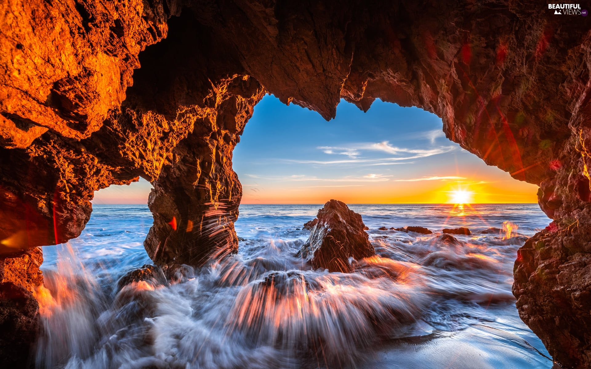 Malibu, sea, Great Sunsets, Waves, cave, California, The United States, rocks