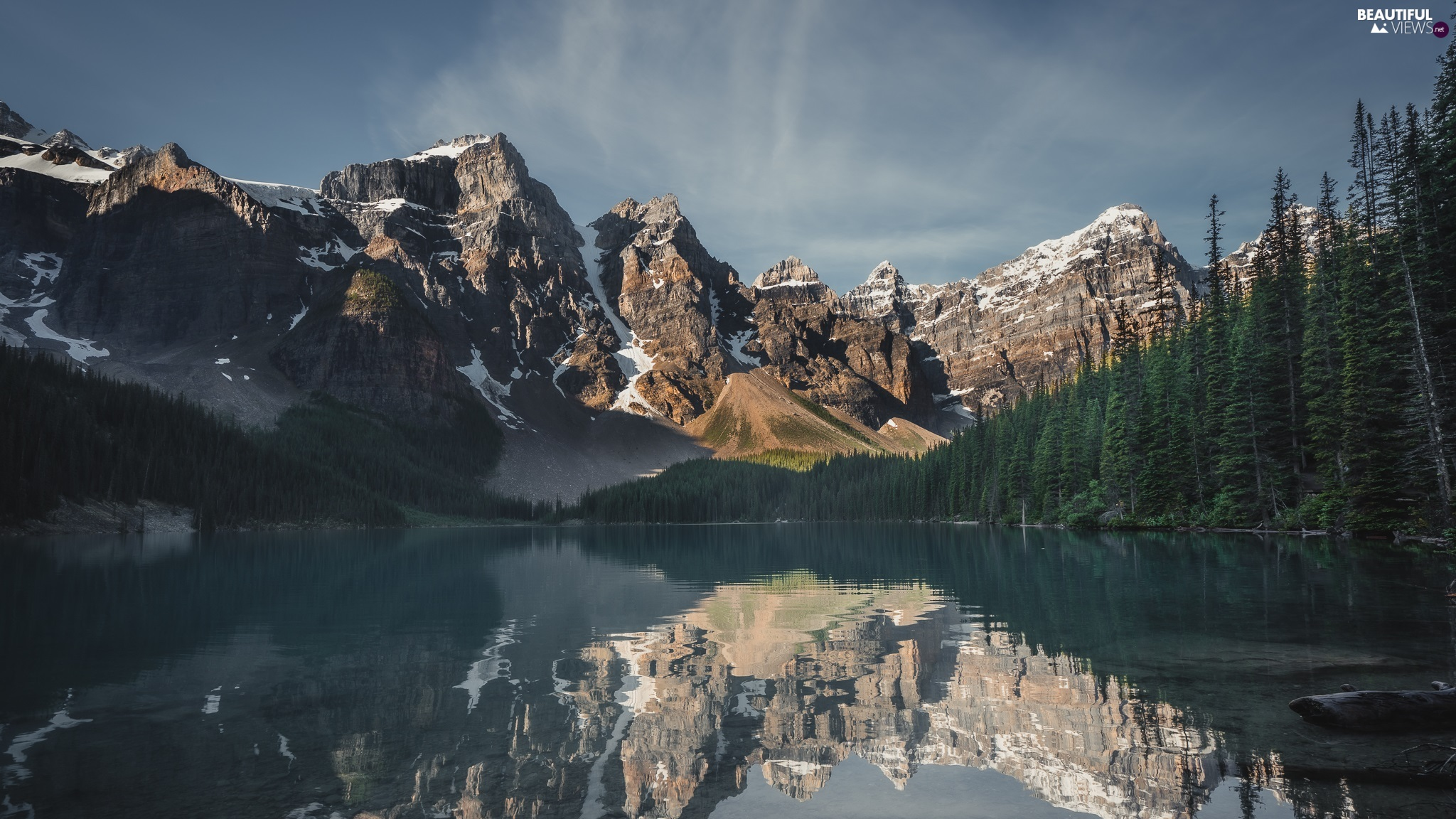 Moraine Lake, lake, woods, trees, Province of Alberta, Canada, Mountains, Banff National Park, viewes