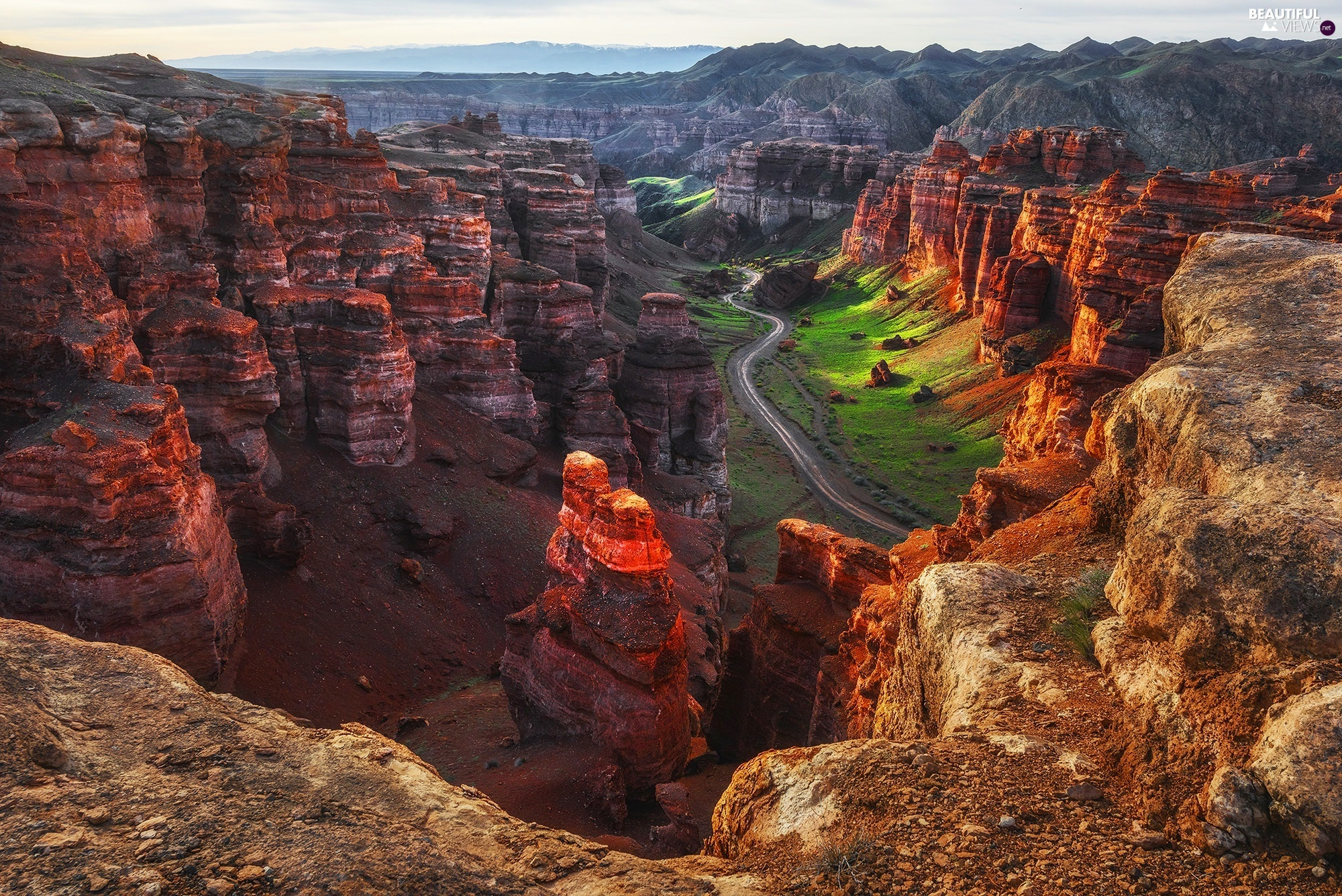 morning, rocks, Sharyn Canyon, Valley, Kazakhstan