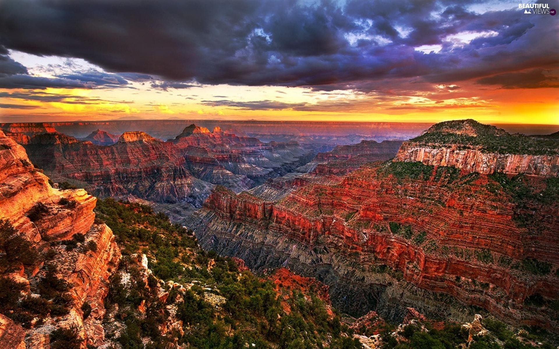 canyon, west, sun