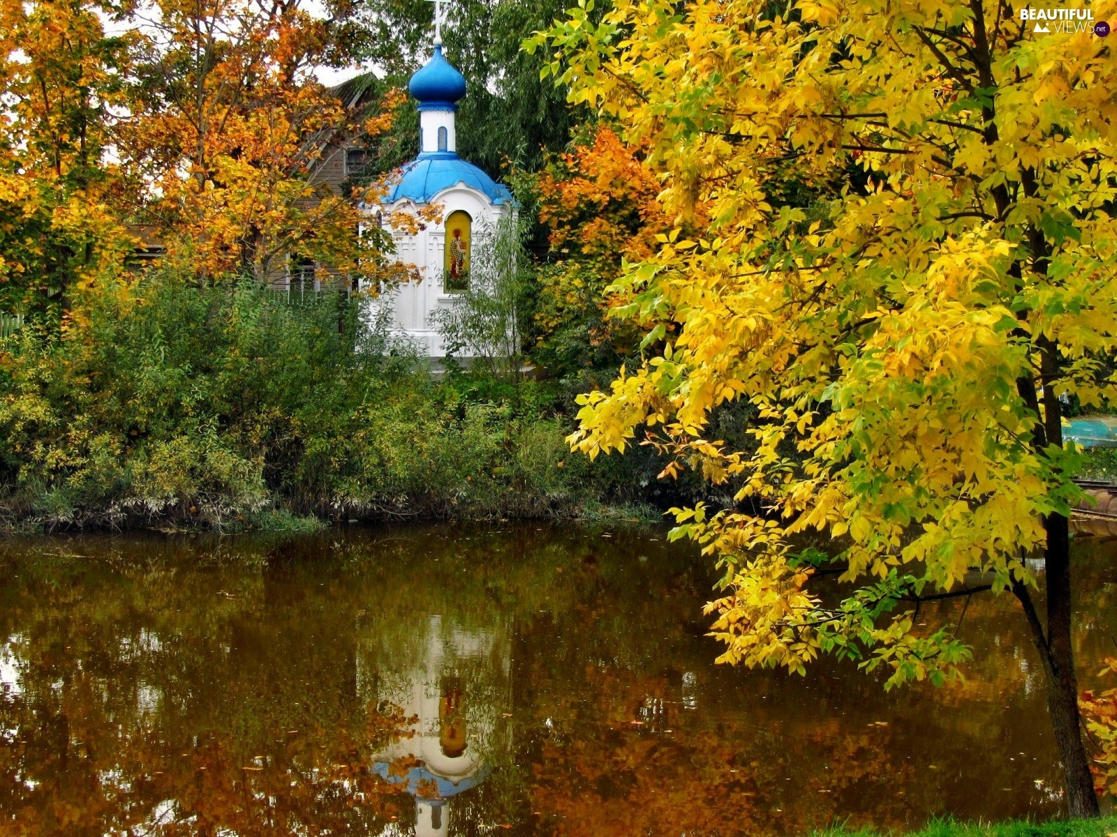 chapel, autumn, trees, viewes, River