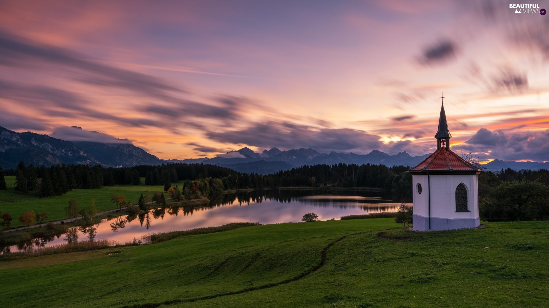 chapel, trees, clouds, viewes, Great Sunsets, lake, Mountains, forest