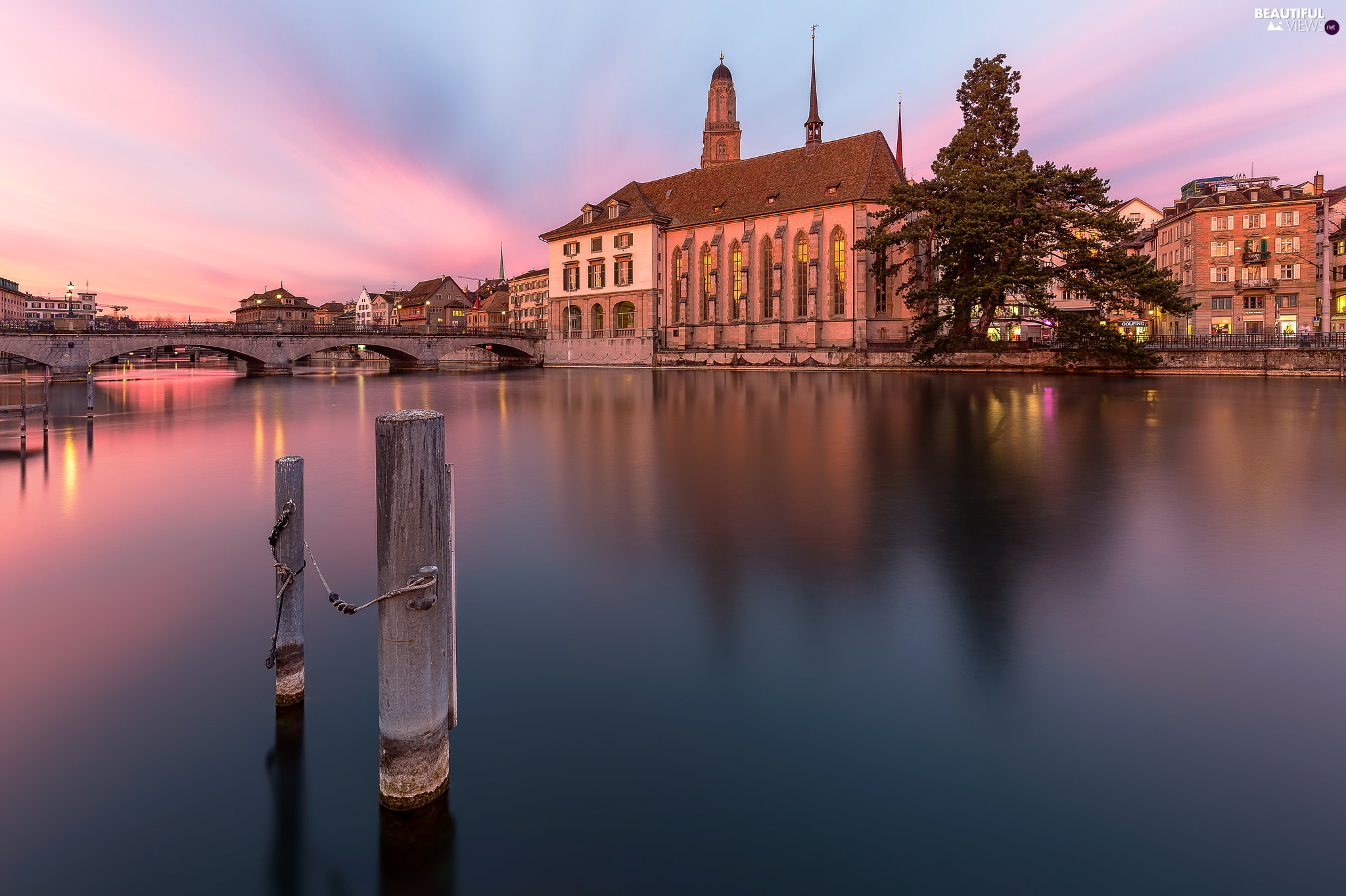 Zurich, Switzerland, Grossmunster Church, bridge, River Limmat