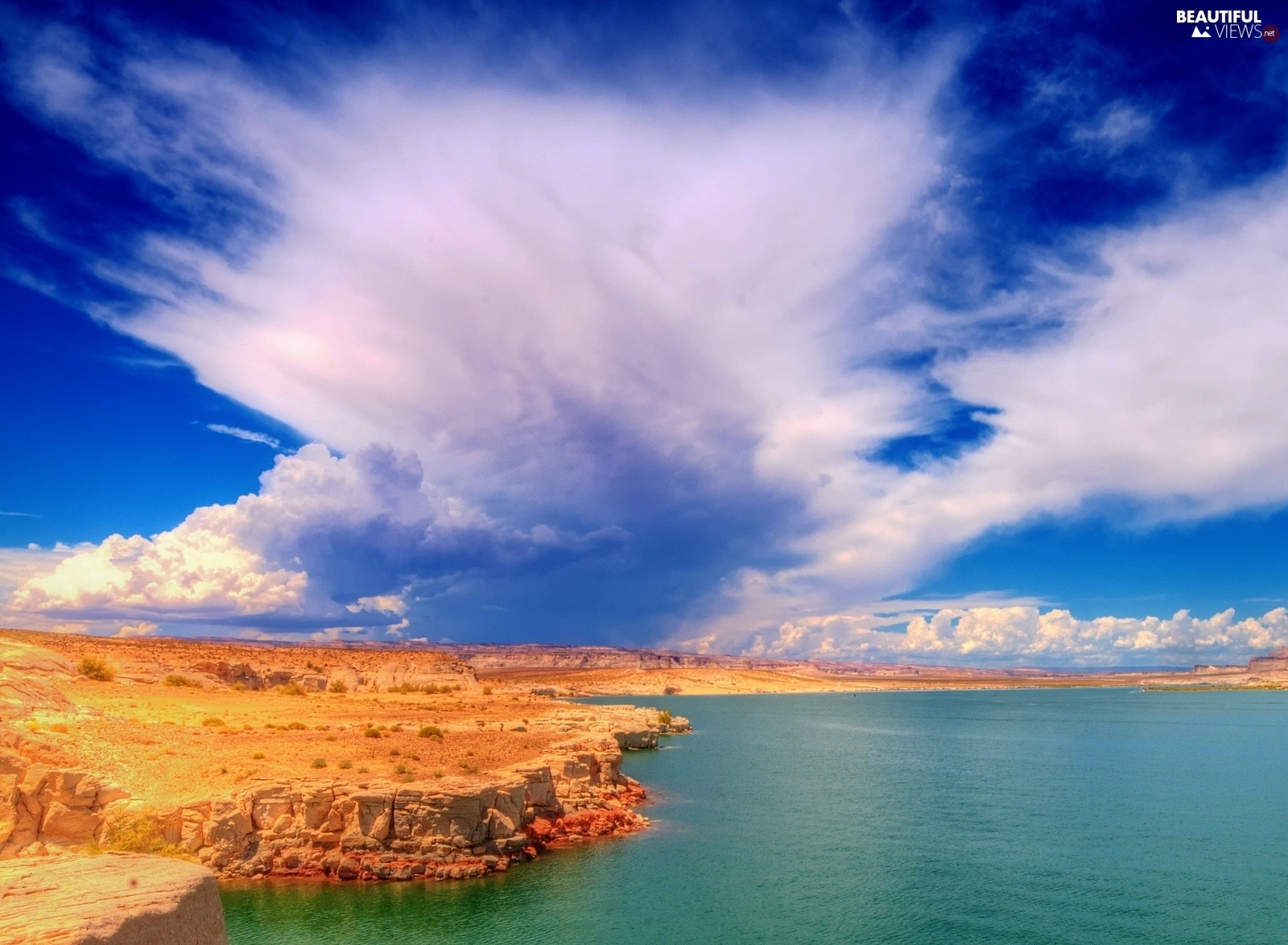 clouds, canyon, lake