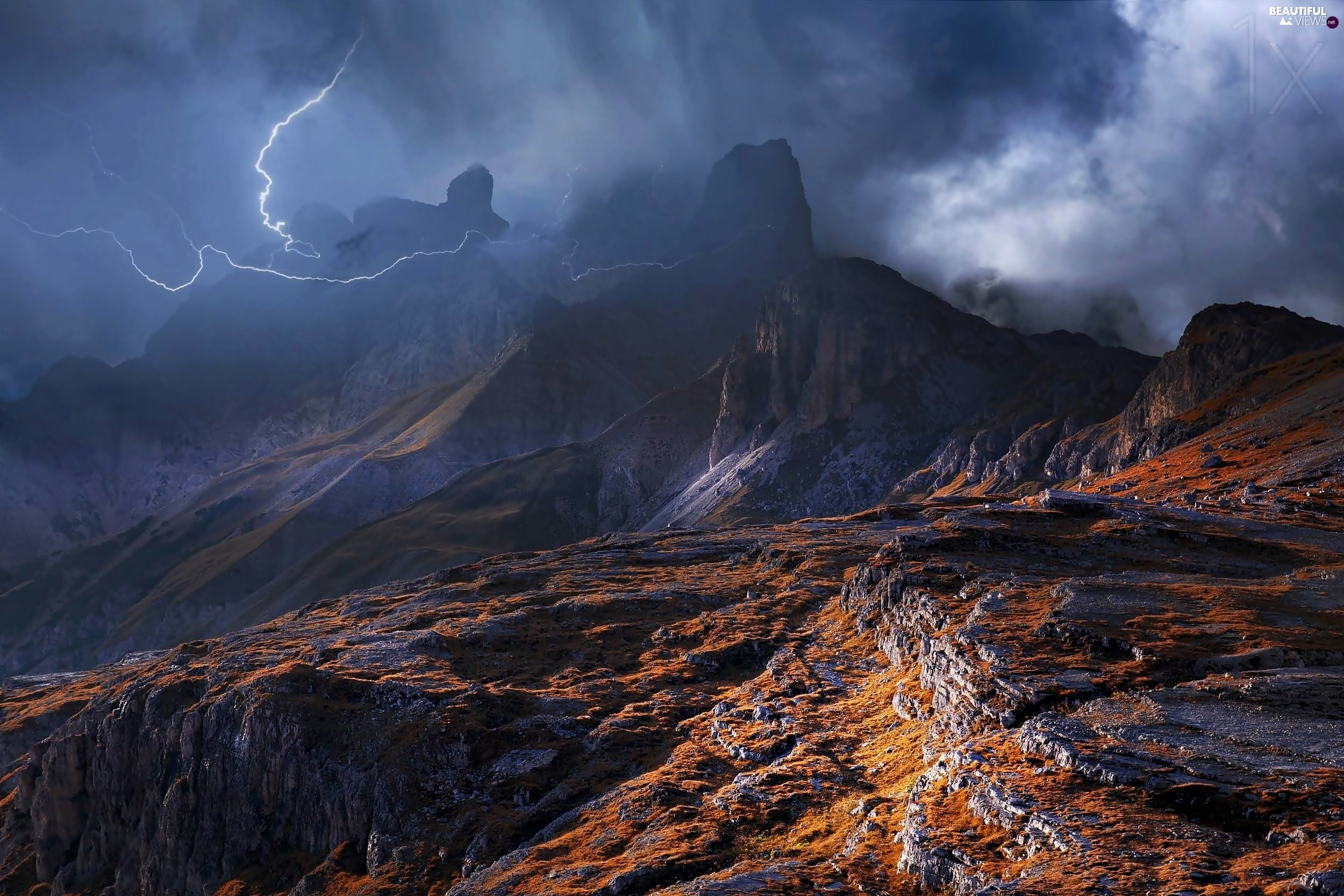 Mountains, Storm, clouds, Dolomites