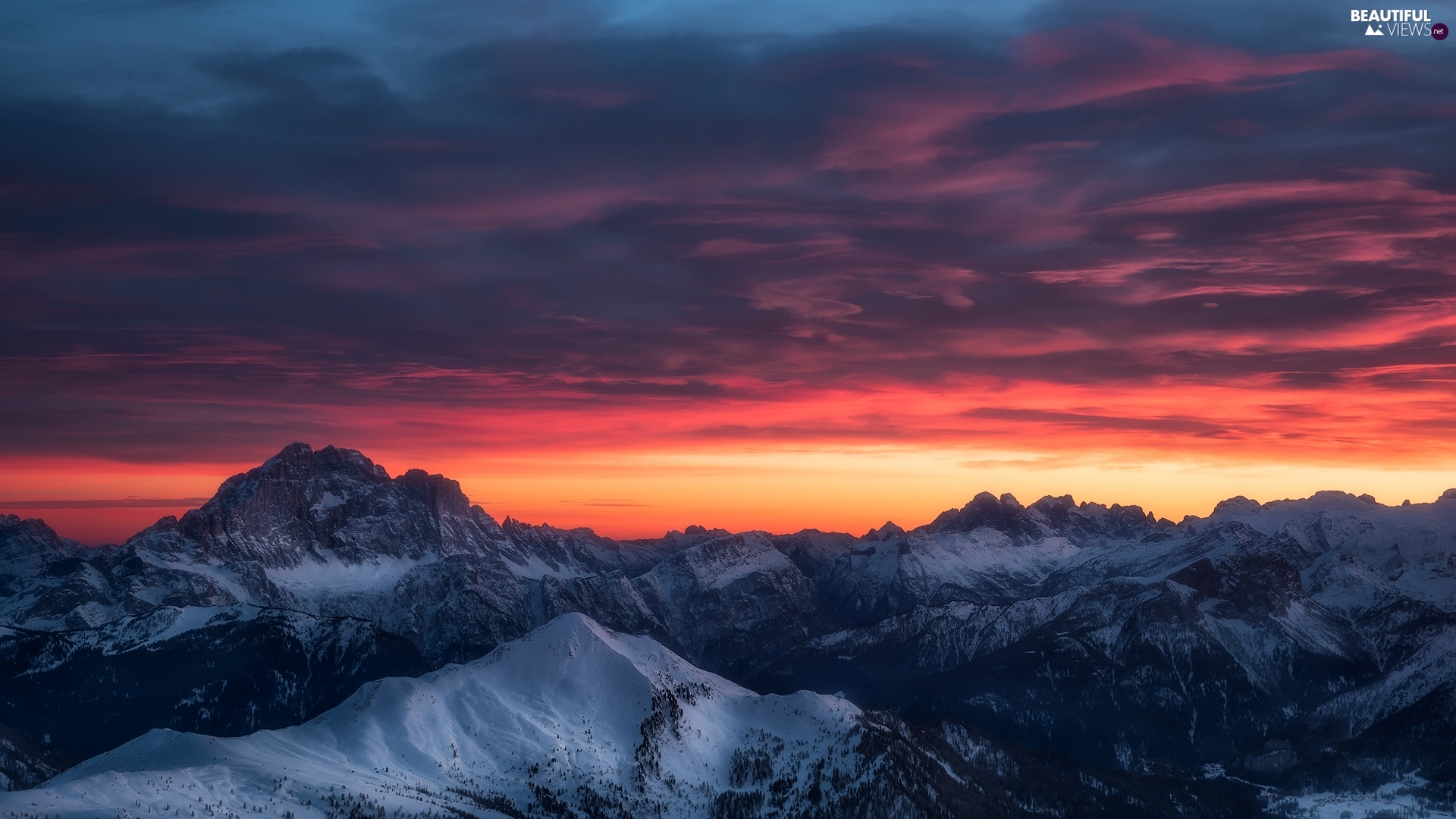 Snowy, Mountains, Sky, clouds, peaks, Great Sunsets