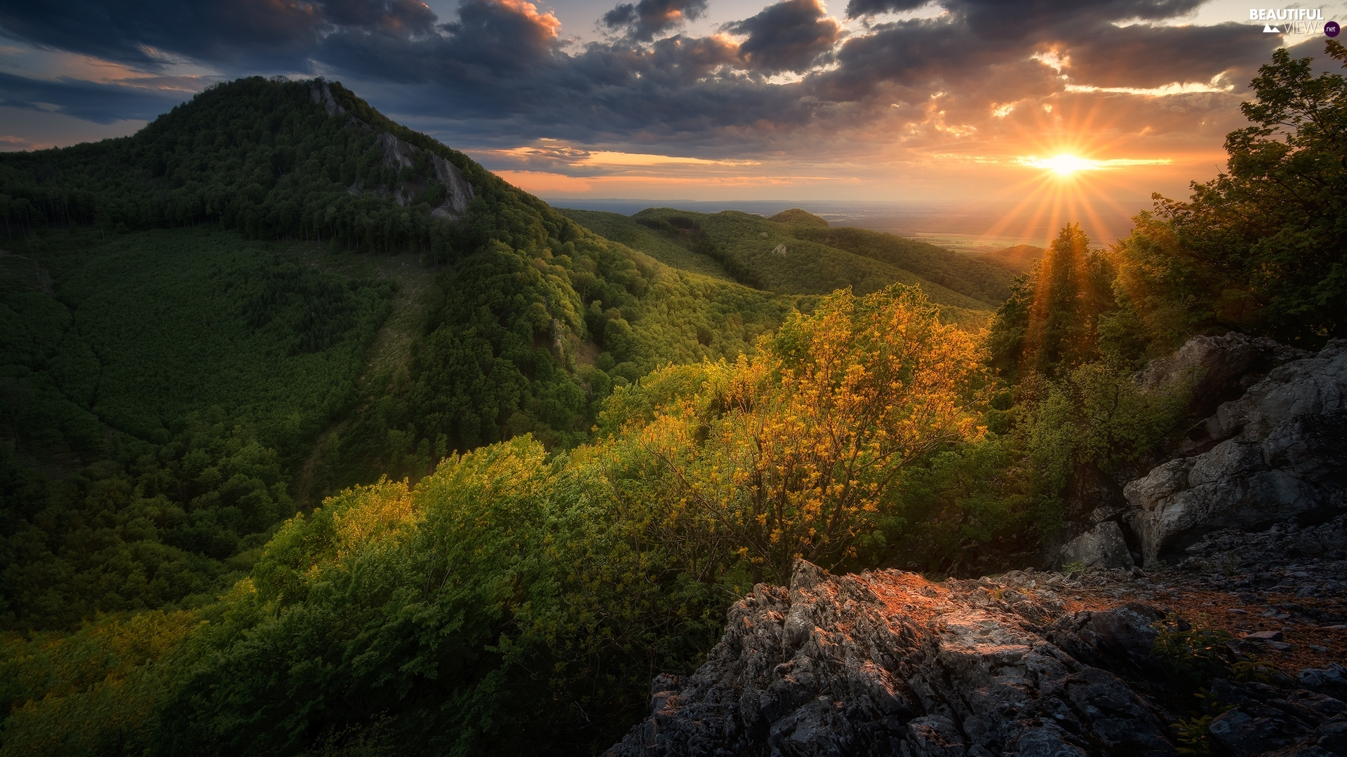 rocks, Sunrise, viewes, clouds, Mountains, trees, VEGETATION