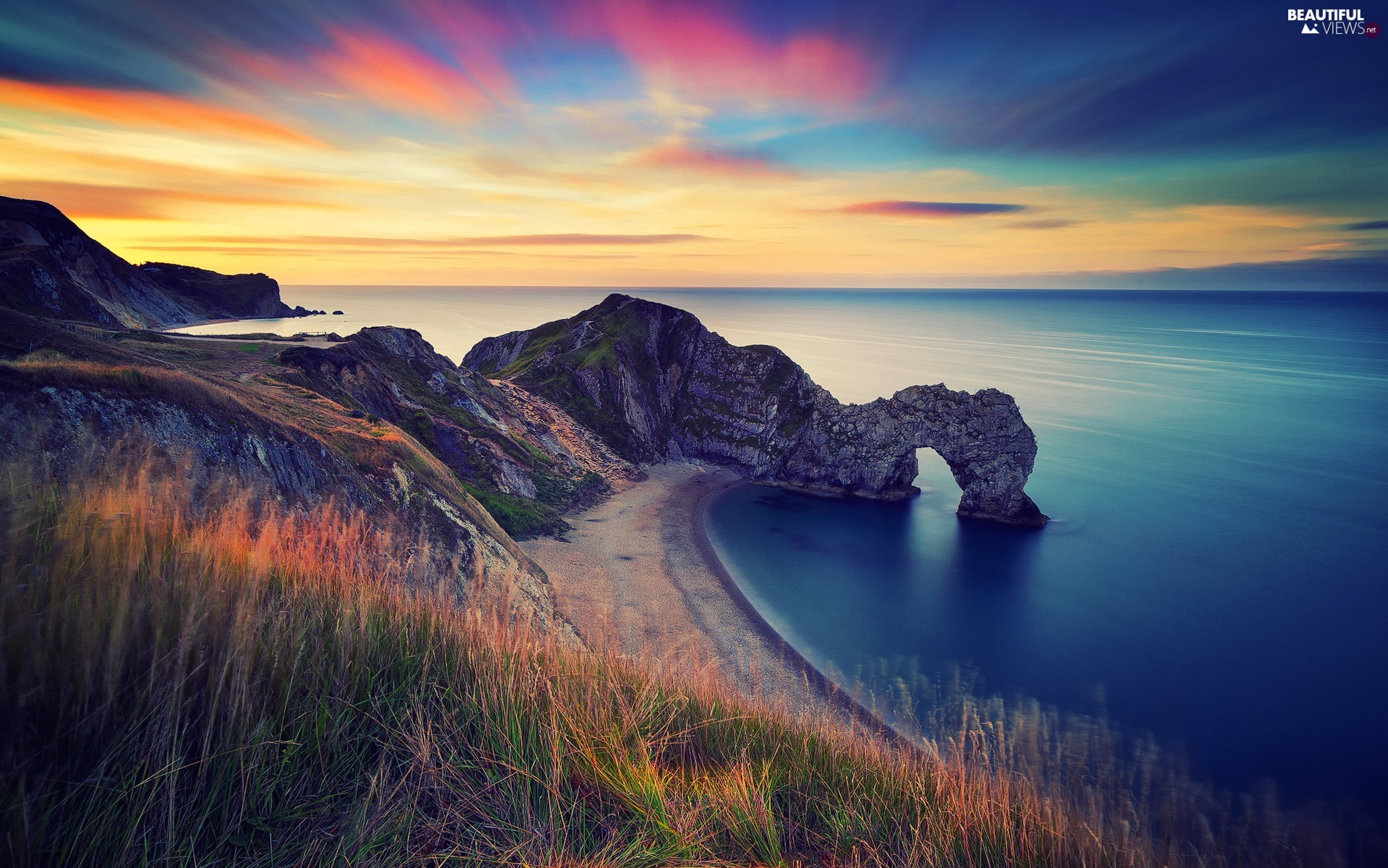 Limestone Durdle Door, sea, rocks, Jurassic Coast, England, Great Sunsets, Beaches