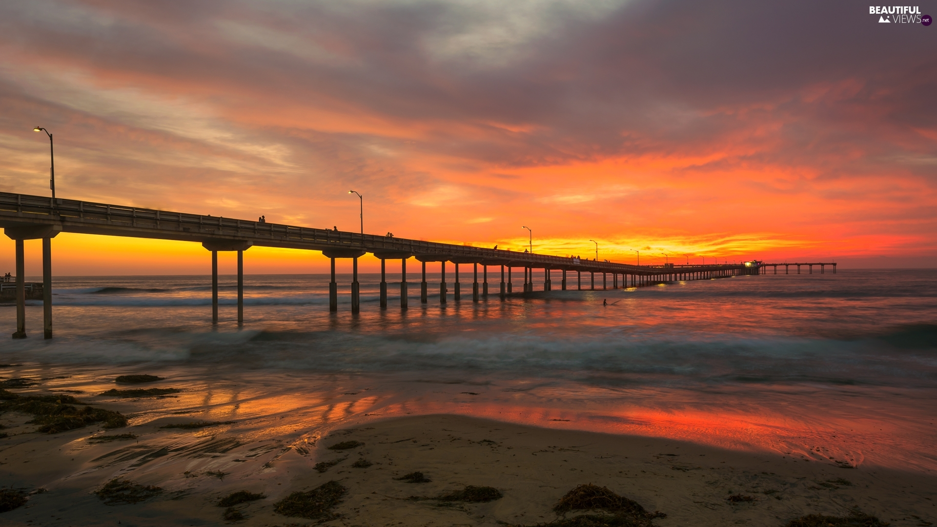 Great Sunsets, sea, color, Sky, clouds, pier