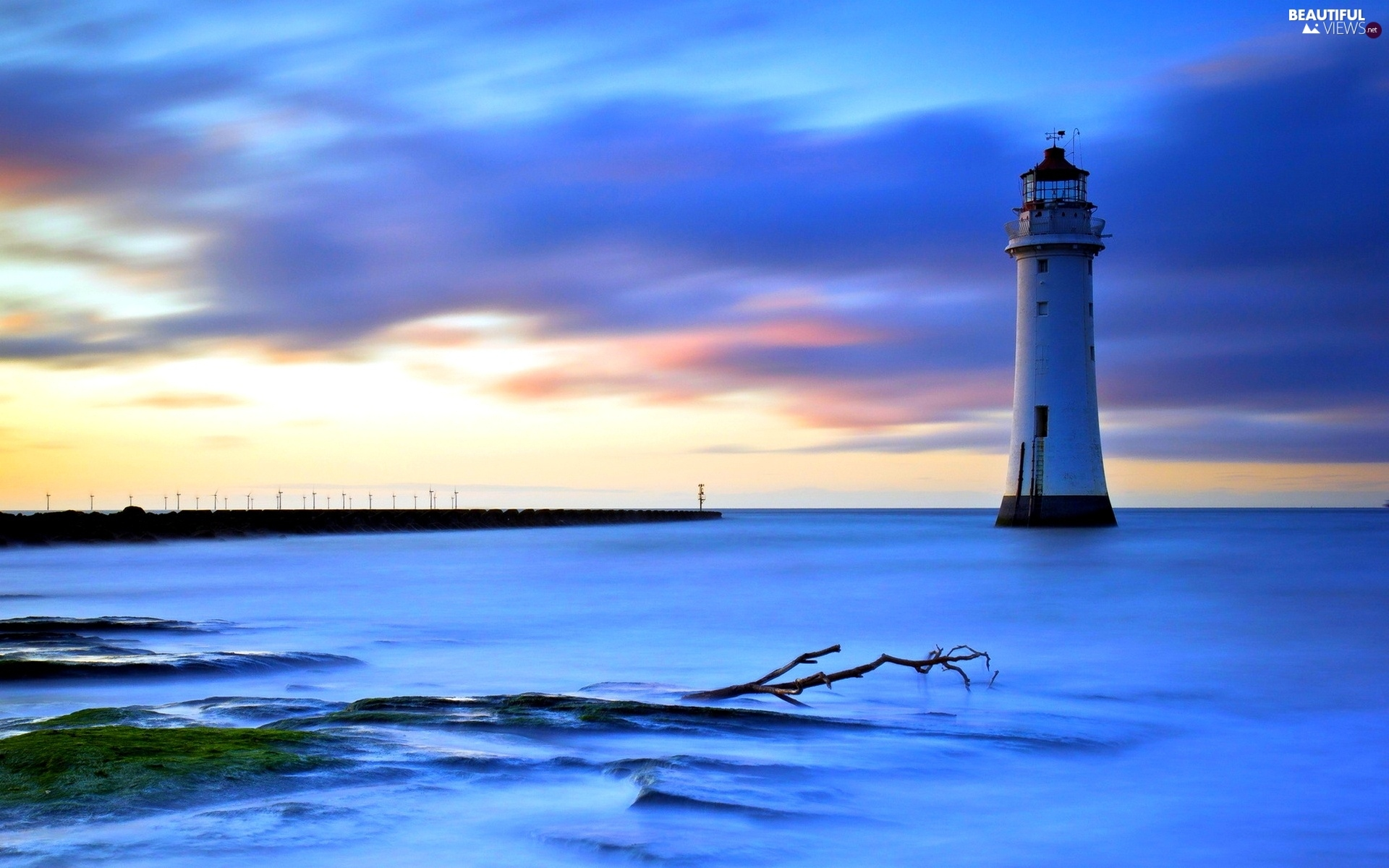 evening, Lighthouses, sea
