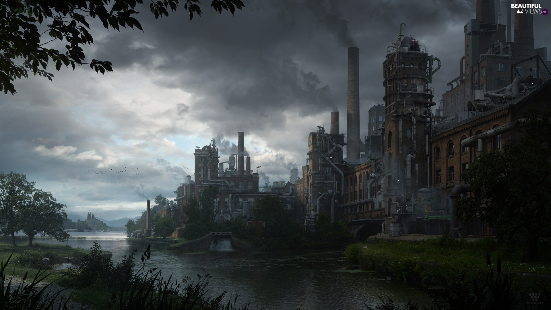 factory, industry, Matte painting, Chimneys, clouds, buildings, River, Sky